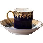 8 Limoges Teacups / Demitasses and Saucers - Cobalt Royal Blue and 22k Gold - Deluxe Espresso cups