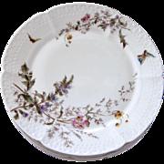 Late 1800s Vintage Haviland Morel Porcelain Dessert Plates - Set of 8 - Butterfly and Flowers