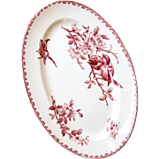 Early 1900s French Ironstone Small Platter - Sarreguemines Favori - Red / Pink Transferware
