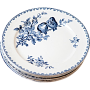 Early 1900s Ironstone Dinner Plates - Set of Six - Sarreguemines Favori - Blue Transferware