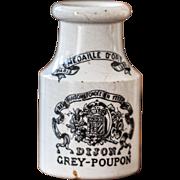 Late 1800s French Stoneware Mustard Pot - Grey Poupon - Dijon - Sarreguemines