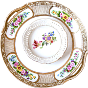 1940s Porcelain Platter with Small Round Bowl - Shabby Chic Gold and Flowers - Japan and Germany
