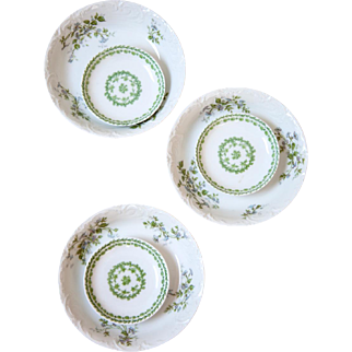 Vintage French Limoges Haviland Porcelain Small Bowls - Set of 6 - Pretty Green Flowers and Garlands