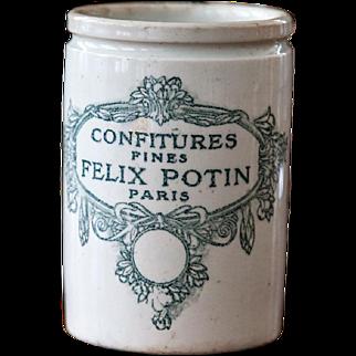 1920s French Stoneware Jam Pot - Felix Potin - Confitures Fines - Paris - Lunéville - Green Transferware