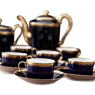 Early 1900s Limoges Porcelain Coffee Set  with 7 Demitasses and Saucers - Cobalt Royal Blue and 22k Gold