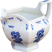 Vintage Ironstone Water / Milk Pitcher - Delft Syle Blue Transfware