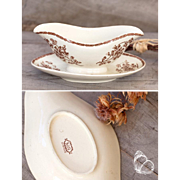 Late 1800s French Set of Sauce Boat and Oval Plate - Brown Transferware - Luneville