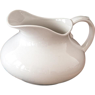 Vintage French Ironstone Water Pitcher - Shabby Chic White - Pexonne early 1900s