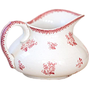 Vintage French Pink Ironstone Water Pitcher - Pink Transferware - Early 1900s