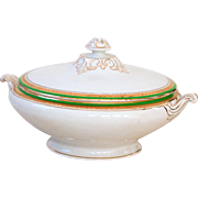 Art Deco Porcelain Tureen - Shabby Chic White, Gold and Green