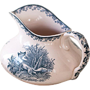 Vintage French Ironstone Water Pitcher - Blue Transferware - Pexonne 1900s