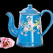 Vintage French Enamel Coffee Pot - Shabby Chic Decor