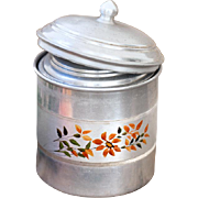 Set of 5 Vintage French Nesting Aluminum Canisters - French Kitchen Tins - Shabby Chic / Country Decor