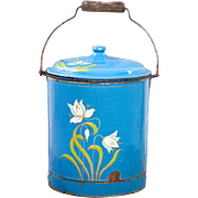 Beautiful Vintage French Enamel Pail with Lid - Art Nouveau / Country Decor