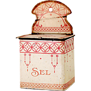 1920s French Art Deco Tin and Wood Salt Box - Shabby Chic Red / Pink