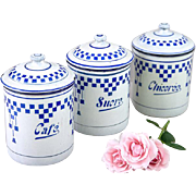 3 French Vintage Enamel Canisters - Art Deco 1920s - Lustucru Checkered Pattern
