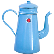 1950s Enamel Coffee Pot - New Old Stock - Sweet Blue Shabby Chic - Made in Belgium