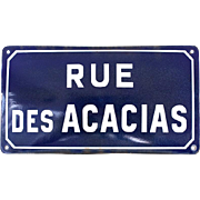 Vintage French Enamel Porcelain Street Sign - Convex Shape - Industrial and Shabby Chic