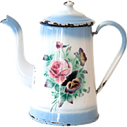 French Vintage Small Enamel Coffee Pot - 1920s Shabby Chic