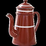 Gorgeous Vintage French Enamel Coffee Pot / Biggin - Burgundy 1940s - Country Chic Kitchen