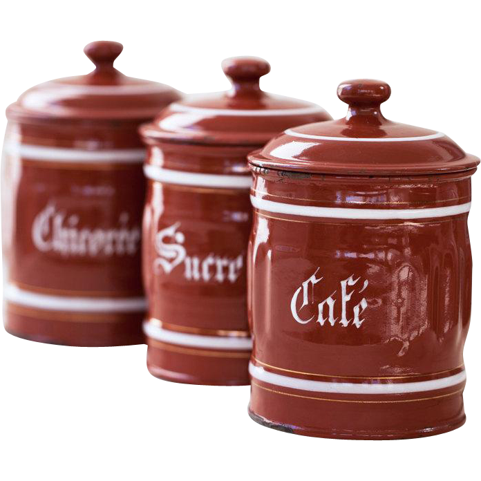 enamel kitchen canisters 1940s vintage french enamel kitchen canisters set of 3 burgundy from scrumptious venus on 9573
