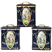 3 Vintage Tin Boxes - Made in England - 1950s with Victorian Theme