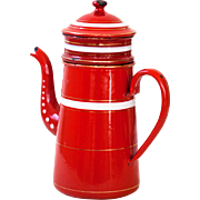 1940s Enamel Coffee Pot - Bright Red - Country or Industrial Kitchen