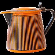 Vintage French Enamel Milk - Hot Water Jug - Art Deco 1920s - BB Frères Orange