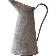 Vintage French Large Water Pitcher / Jug / Can - Galvanized Steel