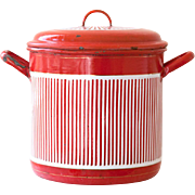 Large French Vintage Enamel Stock Pot - Art Deco 1920s - Red and White Stripes