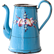 Lovely French Enamel Coffee Pot - No Lid - Blue with Hand Paint Flowers - Shabby Chic Vase