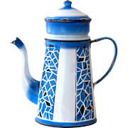 1930s French enamel Coffee Pot - White and Blue Art Deco Style