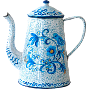 1940s French Enamel Coffee Pot - White and Turquoise Graniteware with Hand Painted Birds