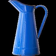 Vintage French Marine Blue Enamel Pitcher - Shabby Chic Decor