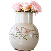 1930s Enamel French Enamel Water Pitcher - Beige with Pink Flowers - BB Frères Austria - Art Deco Lines
