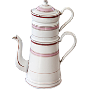 Lovely French Enamel Double Coffee Pot - White and Pink