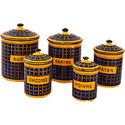 1920s French Enamel Kitchen Nesting Canisters - BB Frères - Orange and Navy - Country or Industrial Kitchen Decor
