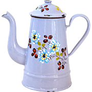 1930s French Small Enamel Coffee Pot - Lavender Color and hand Painted flowers - Shabby Chic Decor
