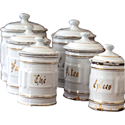 1930s French 6 White Enamel Kitchen Canisters Set - Shabby Chic Kitchen
