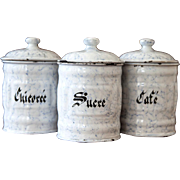 3 French Vintage Enamel Breakfast Canisters - Art Deco 1930s - Marbled Graniteware