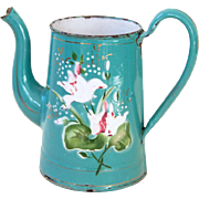 Lovely French Enamel Coffee Pot - No Lid - Turquoise Blue with Hand Paint Flowers - Shabby Chic Vase