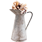 1950s FrenchZinc  Water Pitcher - Galvanized Water Can- Shabby Chic Garden