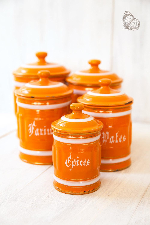 1930s french 5 orange enamel canisters set shabby chic for Kitchen set orange