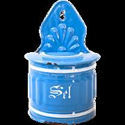 1930s French Enamel Kitchen Salt Box - Sel - Pretty Blue - Shabby Chic