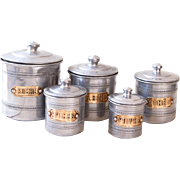 5 French Vintage Kitchen Aluminum Nesting Canisters - 1950s French Kitchen Tins - Aluminum & Brass