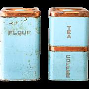 3 Vintage Turquoise Kitchen Tin - Lincoln Beautyware - Mid Century