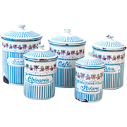 Vintage French Enamel Kitchen Nesting Canister Set of 5 - Art Deco 1920s - BB Frères Turquoise Blue