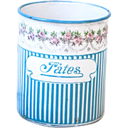 Vintage French Enamel Kitchen Canister Without Lid - Pasta / Pâtes - Art Deco 1920s - BB Frères Turquoise Blue