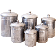 6 Vintage French Aluminum Nesting Canisters - Country and Farmhouse Decor