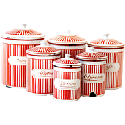 French Vintage Enamel Canister Set of 6 - Art Deco 1920s - BB Frères Red Stripes